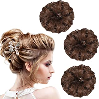 Norme 3 Pieces Synthetic Hair Bun Extension Messy Hair Extensions Donut Updo Ponytail Hair Accessories for Women Hairstyle DIY (Color Set3)