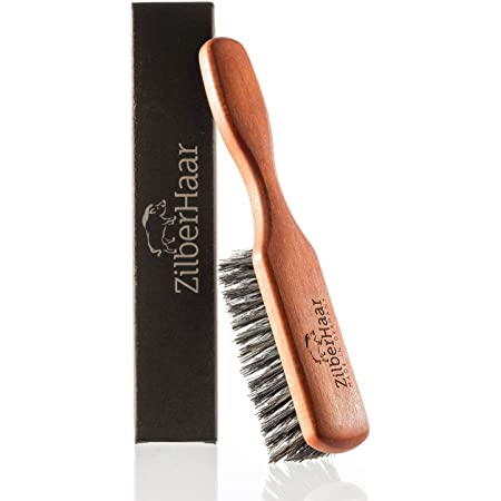 ZilberHaar Regular Beard Brush — Soft Boar Bristles — Beard grooming brush for men — Straightens and Promotes beard growth — Works with Beard Oils and Balms — Essential for beard care kits