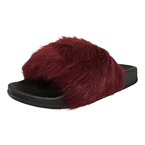 5f4c1c79b72a CAPE ROBBIN Womens Moira-2 Fur Sandals Wine