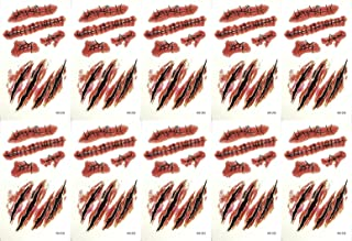 HOTOP Cosplay Makeup Joke Scratch Wound Scab Blood Scar Tattoos Temporary Tattoo Sticker Wound Zombie Scars(10pcs)