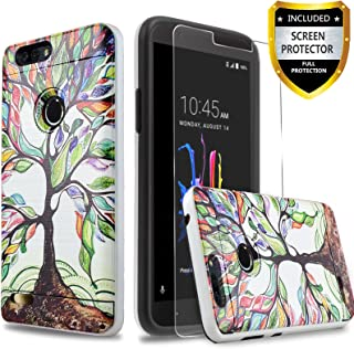 Circlemalls Protective Phone Case Cover Compatible for ZTE Avid 4 /ZTE Fanfare 3 /ZTE Blade Vantage/ZTE Tempo X/ZTE Tempo Go/ZTE ZFive G LTE/ZTE ZFive C Z558VL, with [Screen Protector]-Lucky Tree
