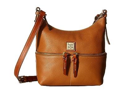 Dooney & Bourke Pebble Alyssa Crossbody (Caramel/Tan Trim) Cross Body Handbags