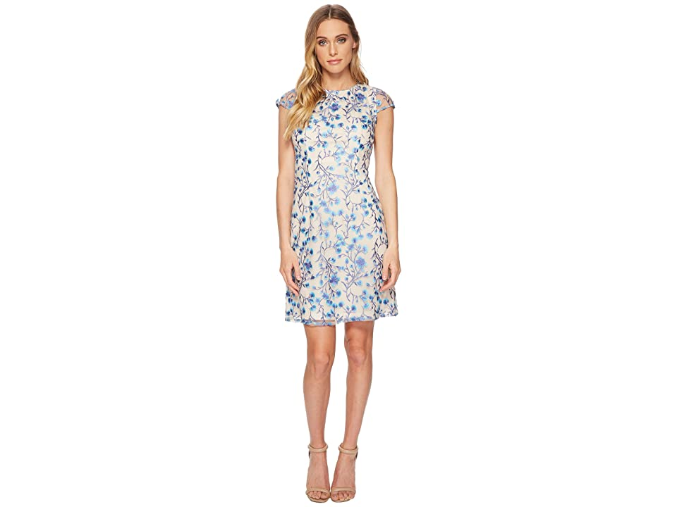 Adrianna Papell Floral Vines A-Line Dress (Blue Multi) Women