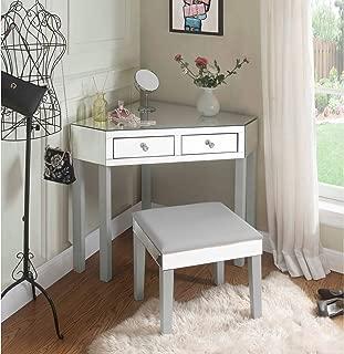 Inspired Home Grey Mirrored Vanity Set - Design: Amaris | 2 Drawers | 2 Piece Set | Corner Table with Stool