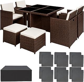 TecTake Conjunto muebles de jardín en aluminio y ratán sintético comedor juego 4+4+1 + funda completa + set de fundas intercambiables | tornillos de acero inoxidable - disponible en diferentes colores - (marrón antigüedad | no. 401984)