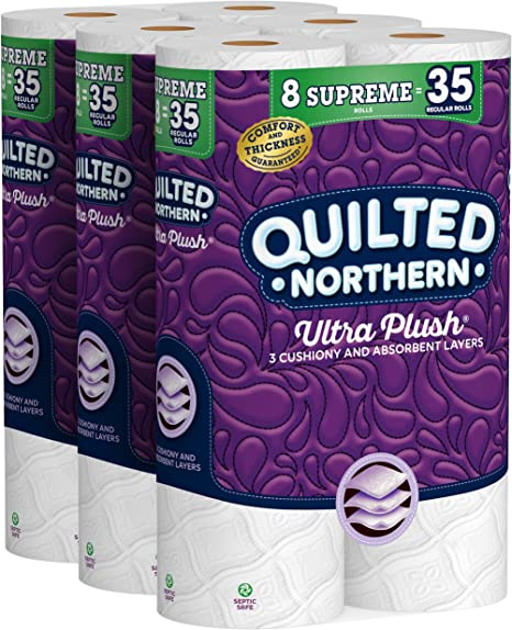 Quilted Northern Ultra Plush Toilet Paper, 24 Supreme Rolls = 105 Regular Rolls, 3-ply