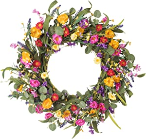 """Lvydec Artificial Daisy Flower Wreath - 20"""" Floral Spring Wreath with Vibrant Silk Flowers and Eucalyptus Leaves for Front Door Home Decoration"""