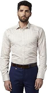 Park Avenue Striped Cotton Medium Khaki Slim Fit Cutaway Collar Full Sleeve Shirt