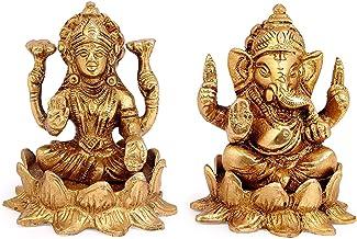 KRYPTAR Brass Goddess Lakshmi/Laxmi & Lord Ganesha Idol on God Statue   Lotus Flower Gift Item