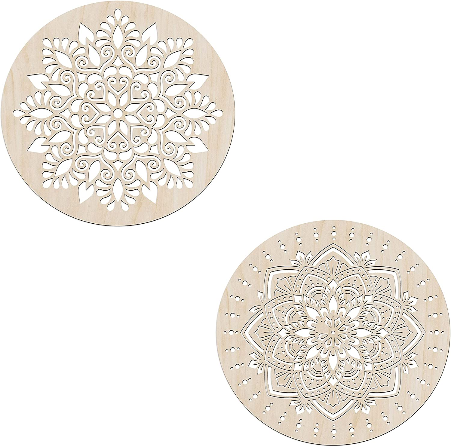 Ambesonne Mandala Wooden Wall Art Set of 2, Ancient Oriental Bloom Leafy Design, Birch Wood Plywood Rustic Wall Art Accent for Hallway Bedroom Living Room Cafes and Offices, 11,4