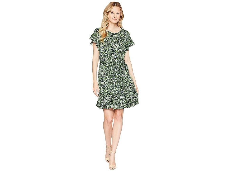 MICHAEL Michael Kors Paisley Ruffle Wrap Dress (True Navy/Green Apple Multi) Women