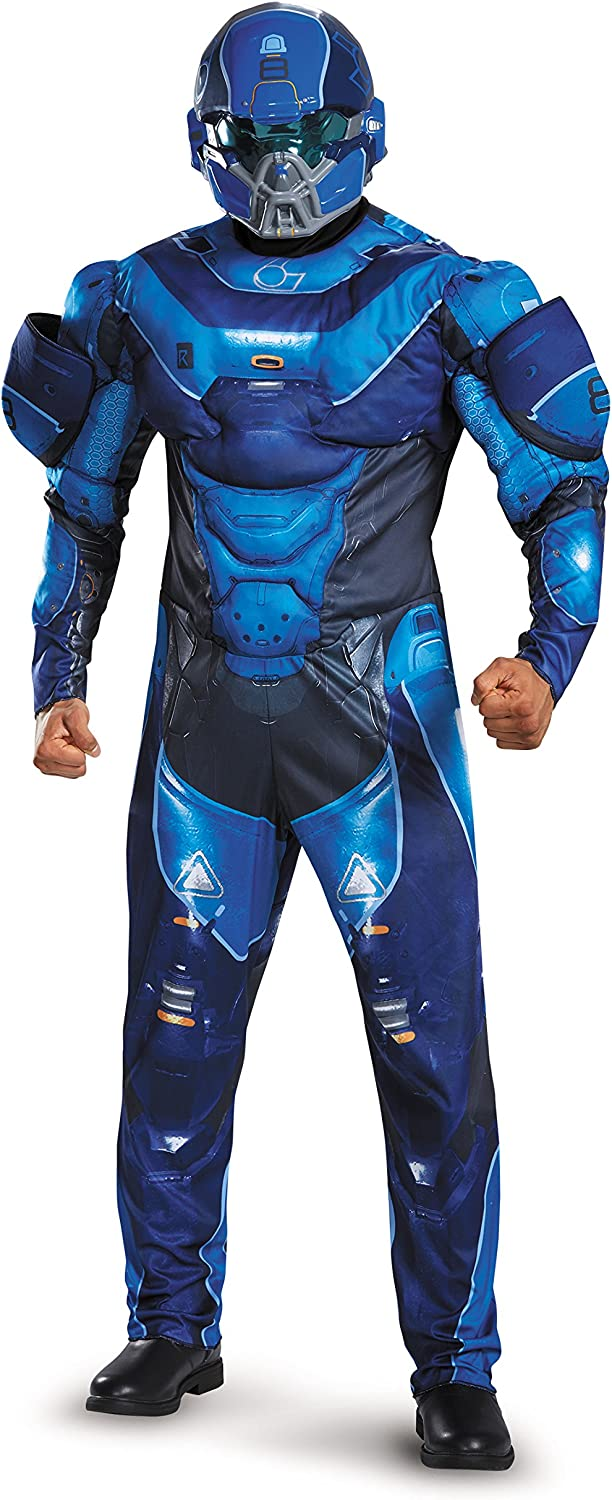 Disguise Men's Halo Max Omaha Mall 61% OFF Blue Muscle Costume Spartan