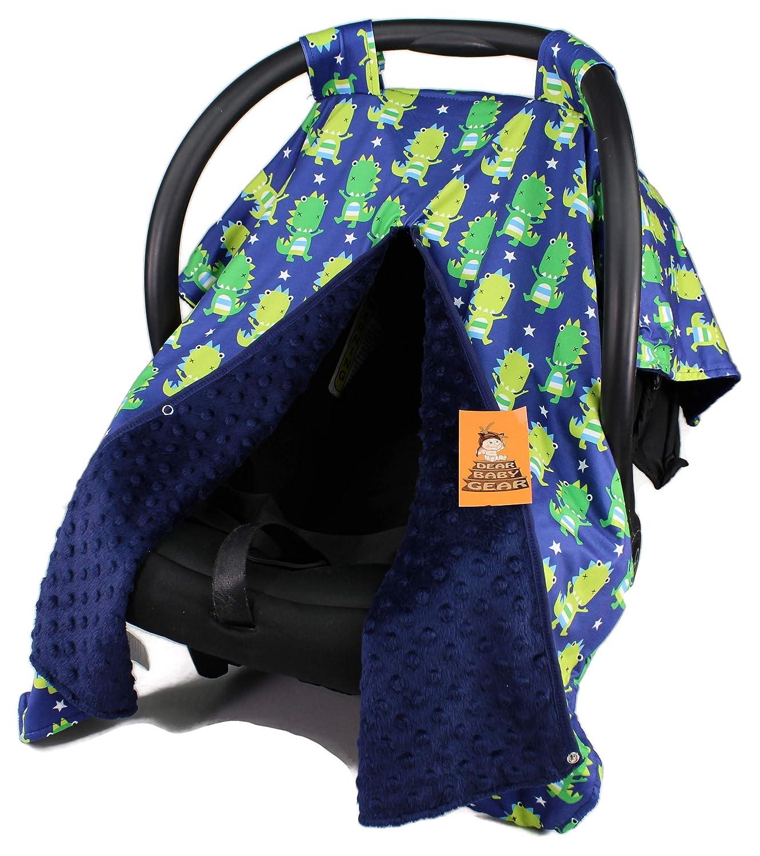 Dear Baby Gear Car Seat Canopy, Green Dinosaurs on Navy, Navy Minky Dot