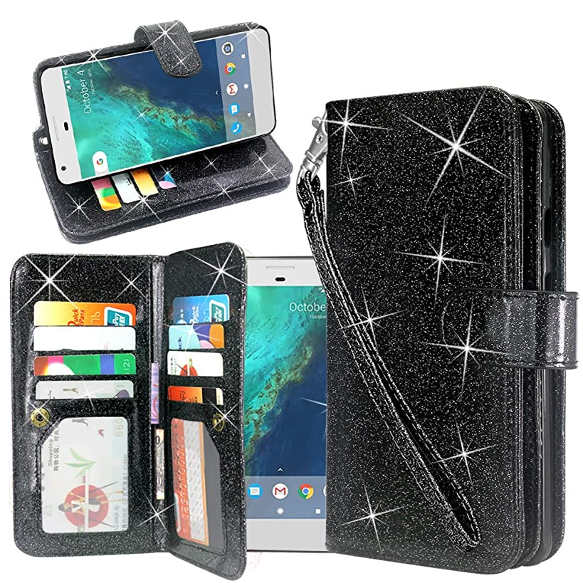 ZTE Blade X Case (Cricket), Linkertech Glitter Shiny Luxury PU Leather Flip Pouch Wallet Case Cover with 12 Card Slots and Wrist Strap for ZTE Blade X Z965 (Cricket Wireless) (Glitter Black)