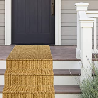 iCustomRug Heavy Duty Interior/Exterior Long Lasting Sisal Ribbed Coco Runner, Mats-Area Rugs,Non-Slip Thick Rubber Backing in Over 70 Custom Sizes, Balcony,Hallway,Commercial/Retail Space 3' X 12'