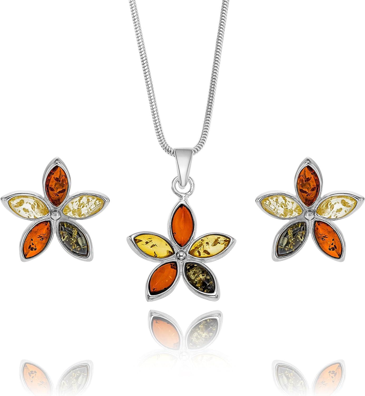 Copal Conjunto de joyas con Ámbar, plata de ley 925, colgante Flor multicolor, con caja de joyas, idea regalo