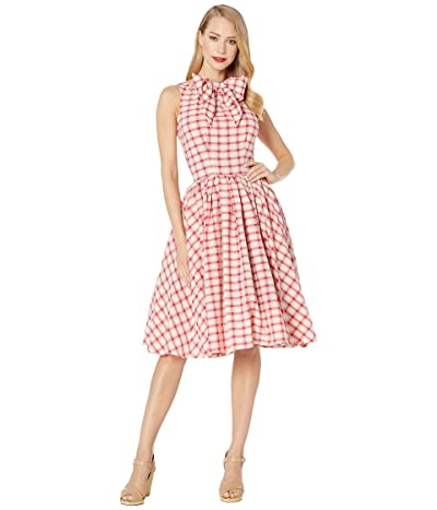 Unique Vintage 1950s Style Raspberry Plaid Doheny Swing Dress (Pink Gingham) Women