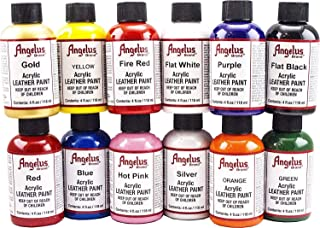 Angelus Leather Paint, Set of 12 Colors, 4oz Jars