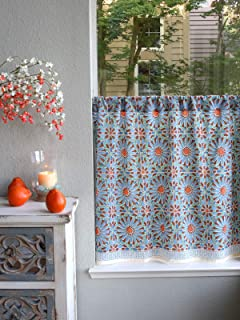 Saffron Marigold - Mosaique Bleue – Blue, Green, and Orange Moroccan Tile Inspired Hand Printed – Sheer Cotton Voile Kitchen Curtain Panel – Rod Pocket – (46x30)