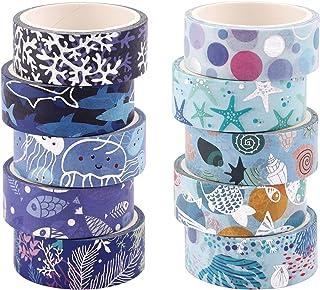 Washi Tape,10 Rouleaux Masking Tape Pastel bleu océan Décoratif Masking Tape Ruban Adhésif Washi Papier pour Les Arts Mask...