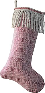 Creative Co-Op Cotton Stocking with Bullion Fringe Cuff in Red & White