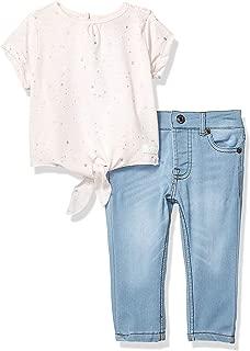 Baby Girls Short Sleeve Tie Top and Denim Jean Set