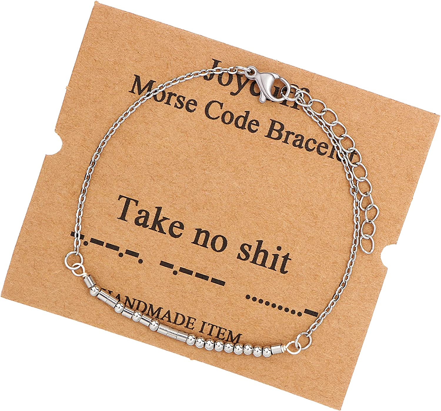JoycuFF Morse Code Bracelets for Women Inspirational Jewelry Gifts for Friend Mom Sister Daughter Aunt Grandma Coworker Motivational Chain Bracelet for Her Birthday Mother's Day Christmas