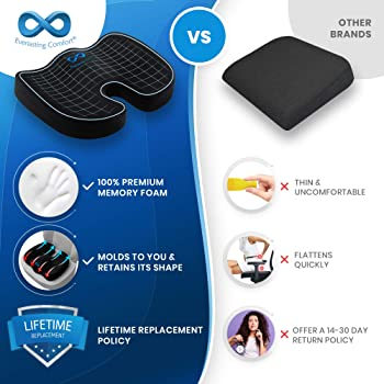 Everlasting Comfort Seat Cushion for Office Chair - Tailbone Cushion - Coccyx Cushion - Sciatica Pillow for Sitting (...