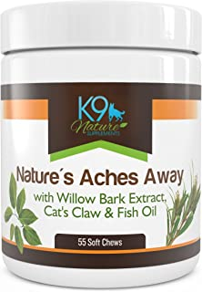 All Natural Arthritis Pain Relief for Dogs Aspirin Free Anti Inflammatory Hip & Joint Supplement Treats 55 Soft Chews of Nature's Aches Away