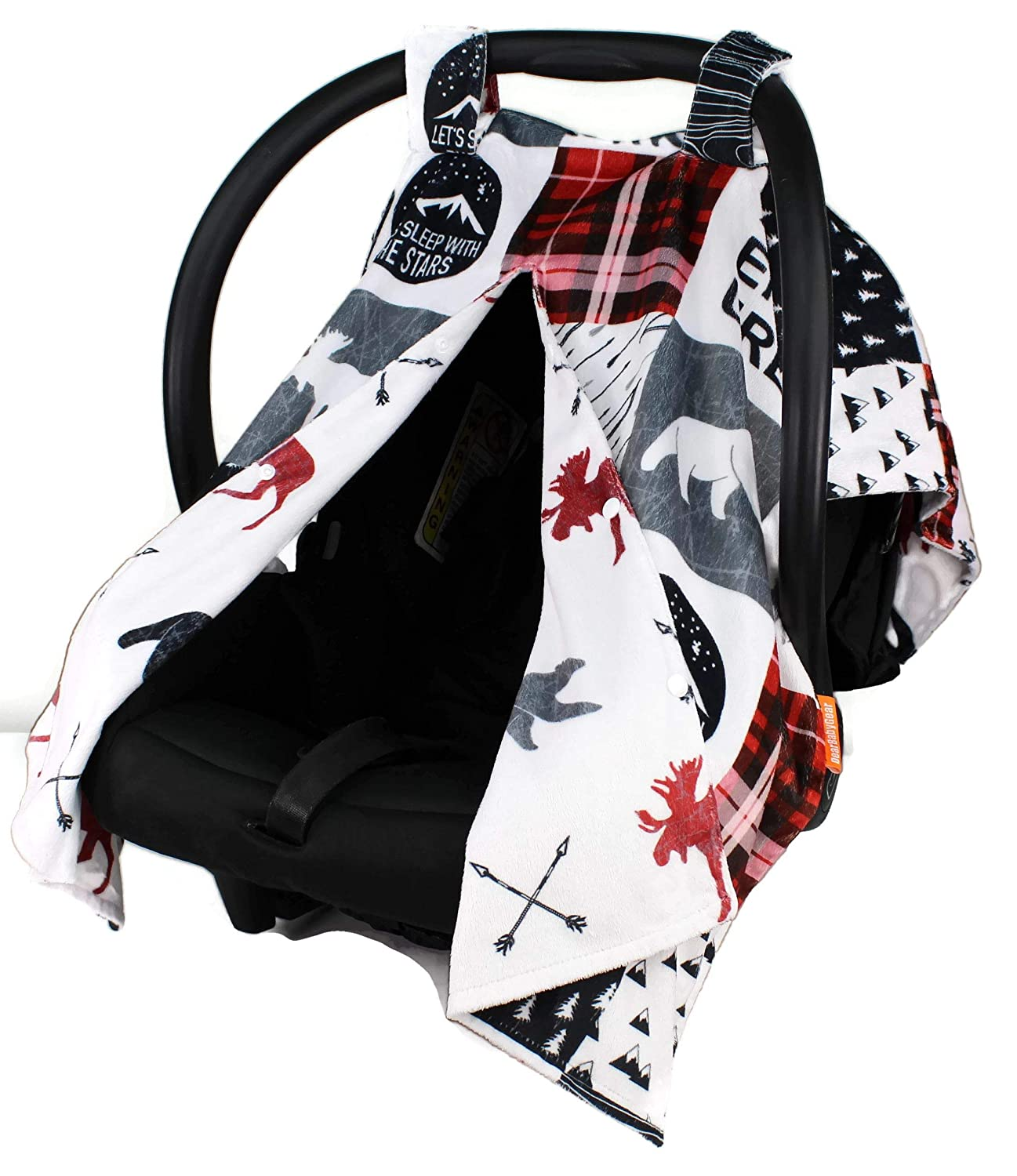 Dear Baby Gear Deluxe Reversible Car Seat Canopy, Custom Minky Print, Northwood Adventure Faux Quilt and Moose with Bears