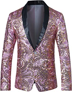 Allthemen Mens Glittery Sequin Blazer One Button Printed Jacket Stand Out