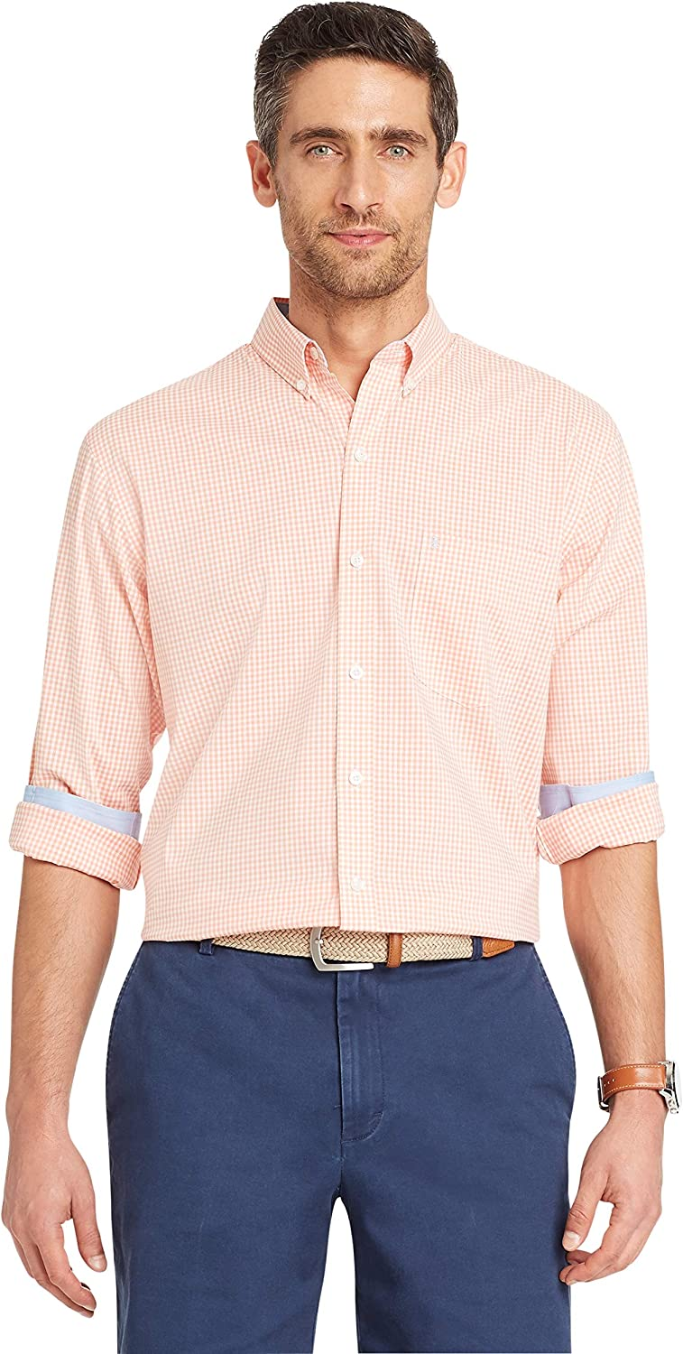 IZOD Men's Slim Fit Button Down Long Sleeve Performance Gingham Shirt (Discontinued)