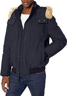 جاكيت بوروم الرجالي عازل بوروم من مارك نيويورك بواسطة اندرو مارك مع غطاء للرأس قابل للإزالة من الفرو