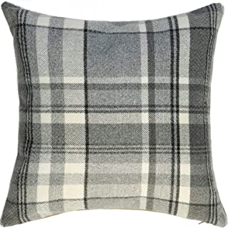 McAlister Textiles Heritage | Tartan Plaid Throw Pillow Cover in Charcoal Gray | Square 24 x 24 | Decorative Striped Woven Cushion Sham Case for Sofa and Bedroom Country Cabin Accent Decor