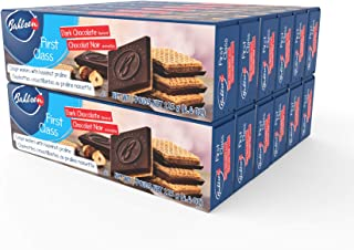 Bahlsen First Class Dark Cookies (12 boxes) - Hazelnut wafers covered in rich dark European chocolate - 4.4 oz boxes