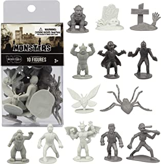 SCS Direct 10 Pcs Monster Action Figure Bucket - Horror Toy Figures - from Dracula to Frankenstein to Giant Spiders- Perfect for Cake Toppers, Halloween Party Favors, Decorations