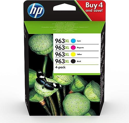 HP 963XL Pack de 4 Cartouches d'Encre Noire, Cyan, Magenta et Jaune grandes capacités Authentiques (3YP35AE) pour HP ...