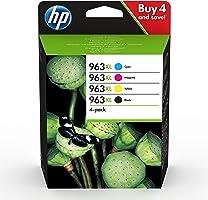 HP 963XL Pack de 4 Cartouches d'Encre Noire, Cyan, Magenta et Jaune grandes capacités Authentiques (3YP35AE) pour HP...