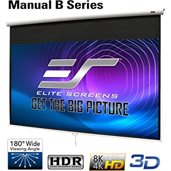 Elite Screens Manual B 100-INCH Manual Pull Down Projector Screen Diagonal 16:9 Diag 4K 8K 3D Ultra HDR HD Ready Home Theater Movie Theatre White Projection Screen with Slow Retract Mechanism M100H