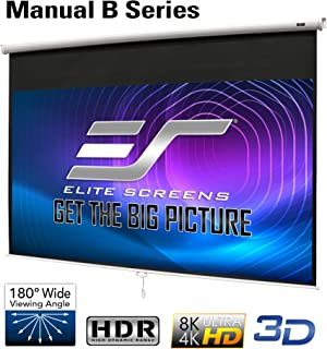 Elite Screens Manual B 100-INCH Manual Pull Down Projector Screen Diagonal 16:9 Diag 4K..