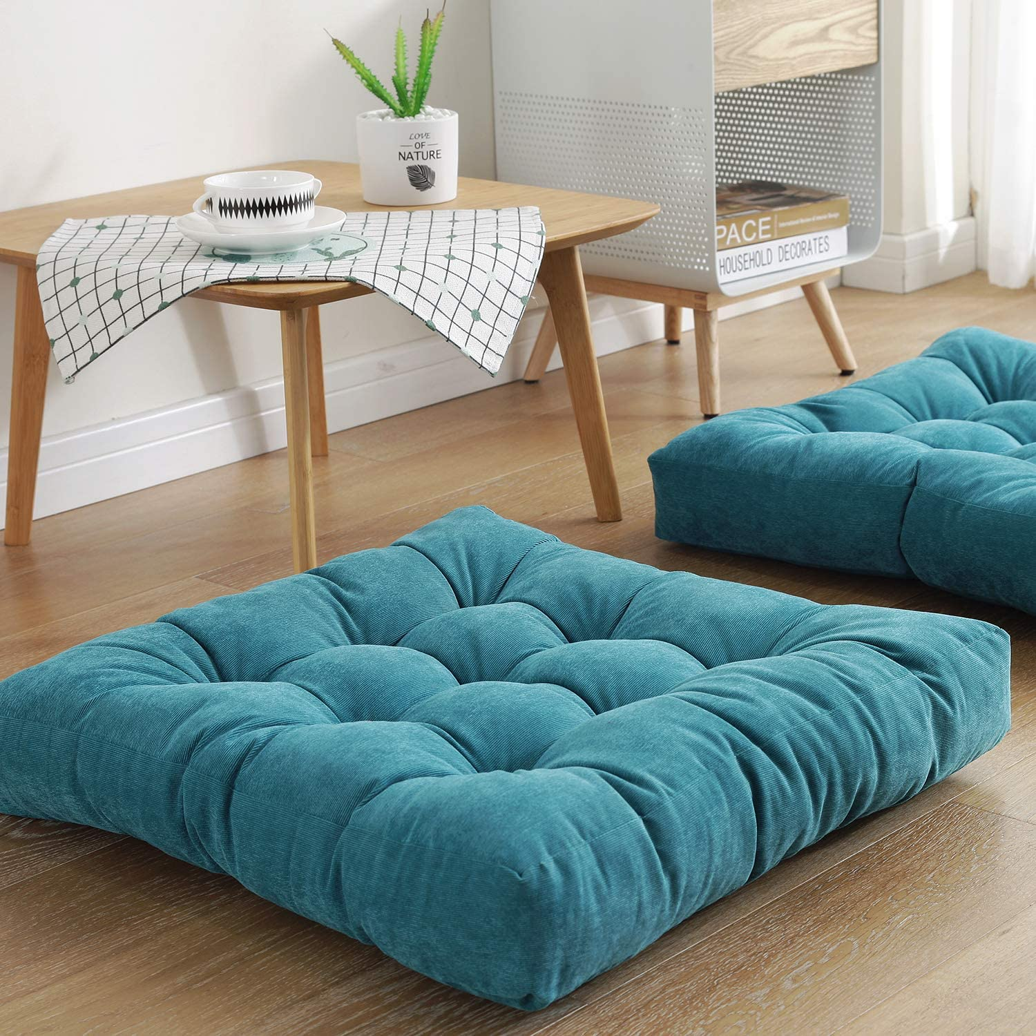 Square Floor Seat Pillows Cushions 22 x 22 Turquoise Soft Thicken Yoga Meditation Cushion Pouf Tufted Corduroy Tatami Floor Pillow Reading Cushion Chair Pad Casual Seating for Adults /& Kids