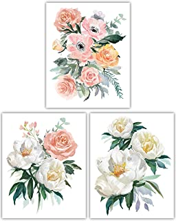 Floral Watercolor Flower Art Prints - Beautiful Vintage Rose Collection - Set of Three 8x10 Photos