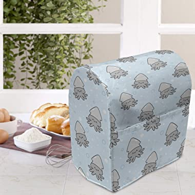 Lunarable Squid Stand Mixer Cover, Repetitive Pattern of Whimsical and Bubbles Floating Underwater, Kitchen Appliance Organiz