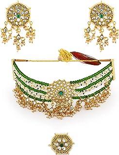 Zaveri Pearls Green Crystals Beaded Kundan Choker Necklace Earring & Ring Set For Women-ZPFK11065