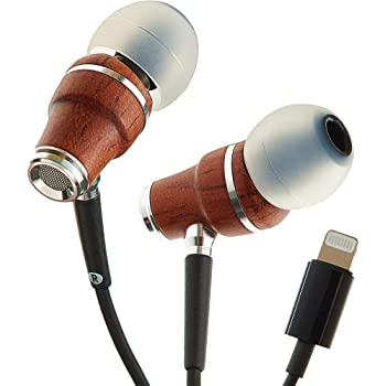 Symphonized NRG MFI Earbuds, Certified Lightning Earbuds Compatible with Apple iPhone/iPad/iPod, Premium Genuine Bubinga Wood in-Ear Noise Isolating Earphones, Stereo Wired Headphones (Black)