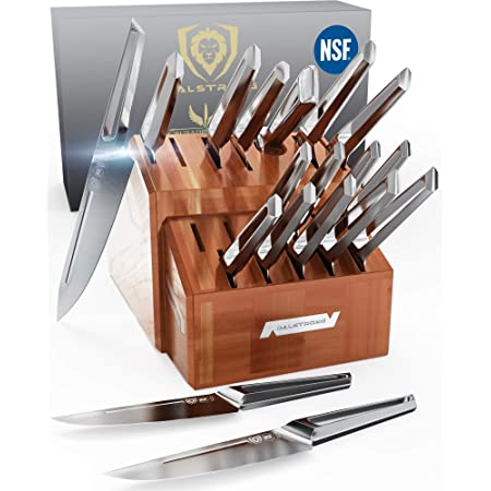 DALSTRONG - 18pc Knife Block Set - Crusader Series - Forged Thyssenkrupp High-Carbon German Stainless Steel - w/Magnetic Sheath - NSF Certified