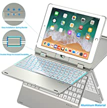 Keyboard Case Compatible with iPad 2018 (6th Gen)/2017 (5th Gen)/Pro 9.7/Air 2 & 1   Double-Rotating Hinge & Aluminum Keyboard/Case   Colorful Backlit Keys & Long Working Time (Silver)