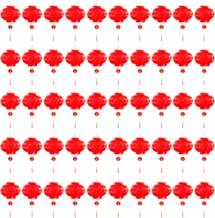 Blue Panda Chinese New Year Red Paper Lanterns Decorations - 50 Pieces