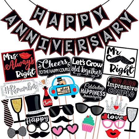 Wobbox Anniversary Photo Booth Party Props DIY Kit with Happy Anniversary Bunting Banner, Red Gliter & Black , Anniversary Party Decoration