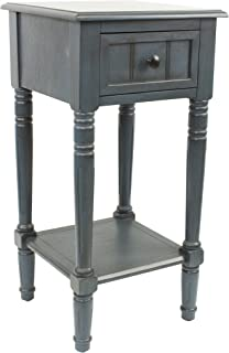 Décor Therapy Simplify One Drawer Square Accent Table, Antique Navy